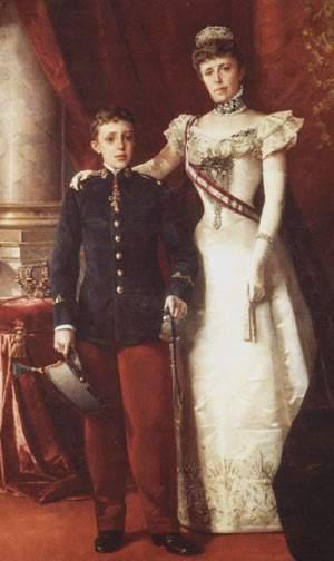 König Alfonso XIII. von Spanien mit seiner Mutter.
