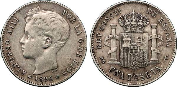 Spanische Münze von 1896 mit dem Porträt von König Alfonso XIII. von Spanien. Auf der Rückseite der Peseten-Münze das Wappen.